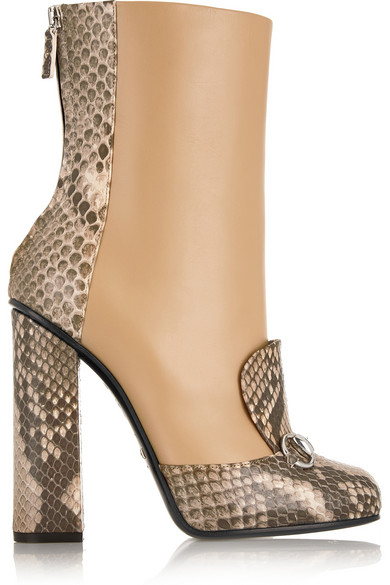 Gucci Horsebit-Detailed Python And Leather Ankle Boots In Animal Print