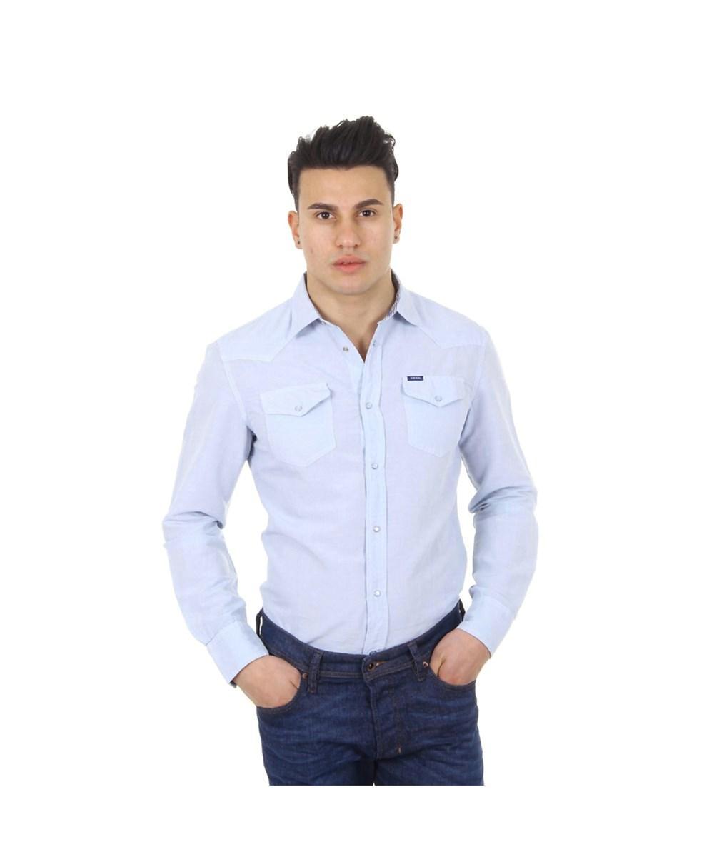 Diesel Mens Shirt Long Sleeve S-Sulfa In Light Blue