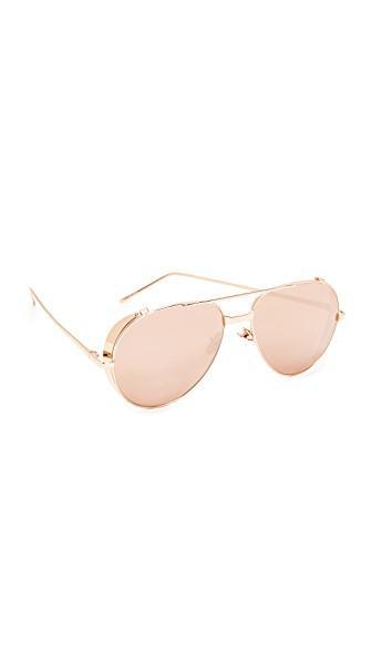 e479e430f49 Linda Farrow Luxe Side Shield Aviator Mirrored Sunglasses In Rose Gold Rose  Gold