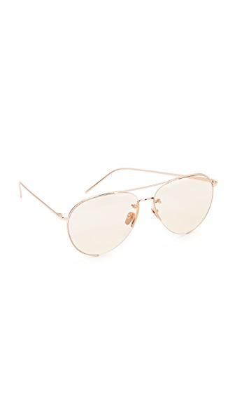 d52ab517ec2 Linda Farrow Luxe 18K Rose Gold Plate Aviator Sunglasses In Rose Gold Light  Peach