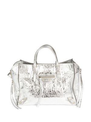 8b1b9f75f4 Balenciaga Classic City Aj Small Metallic Leather Satchel Bag In Silver  Metallic