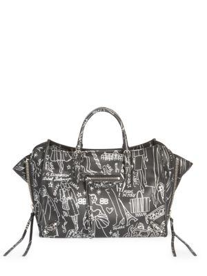 16e644de0b3a Balenciaga Papier A6 Zip Around Graffiti Tote Bag In Argento