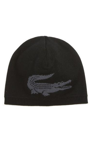454d3bab619 Lacoste Big Crocodile Reversible Wool Beanie - Blue In Mouline Navy ...