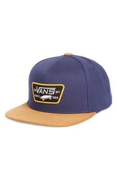 8b8422ded5 Vans  Full Patch  Snapback Hat - Blue In Dress Blues  Khaki
