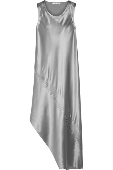 47f625c6735e Helmut Lang Silk Satin Asymmetric Midi-Dress - Gry Pebble In Silver ...