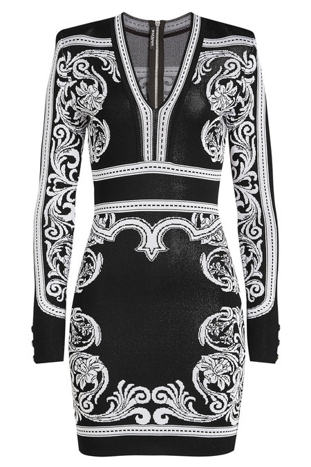 f0d8c447 Balmain Long-Sleeve Deep-V Fitted Baroque Short Dress In Black ...