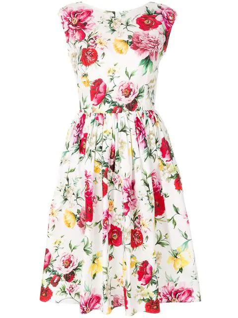 Dolce & Gabbana Woman Floral-print Cotton And Silk-blend Dress Crimson In White