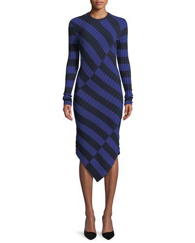 Altuzarra Whistler Asymmetric Wide-Stripe Fitted Knit Dress In Royal Blue