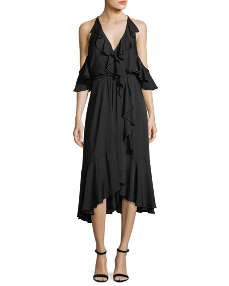 Milly Bryce Cold-Shoulder Ruffled Stretch-Silk Dress In Black