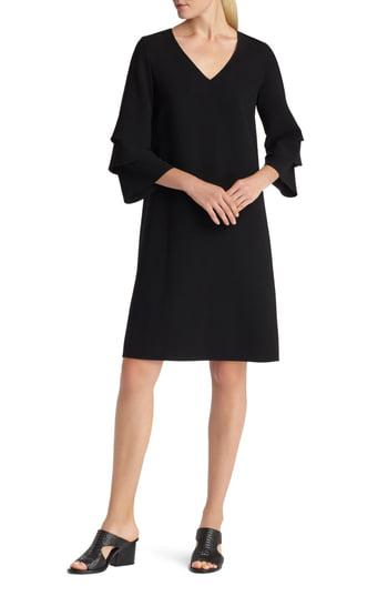 Lafayette 148 Velez Finesse Crepe Shift Dress In Black