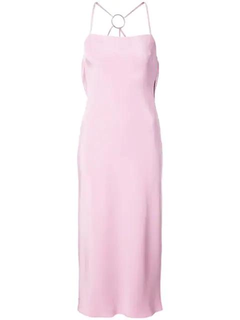 Cushnie Et Ochs Irina Strappy-back Slip Dress In Pink/silver