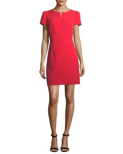 Milly Short Pouf Sleeve Italian Cady Dress In Lipstick