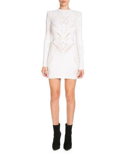 Balmain High-Neck Long-Sleeve Knit Lace Short Dress In White