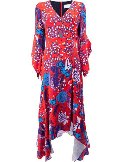 Peter Pilotto V-neck Mixed-media Flare-sleeve Silk Dress In Red