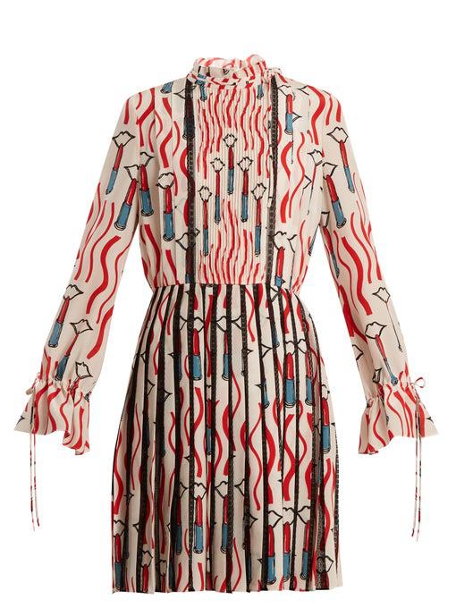 Valentino Mock-neck Long-sleeve Crepe De Chine Lipstick-print Dress In Red