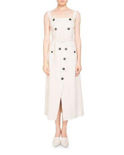 Altuzarra Audrey Pinstripe Apron-Front Belted Midi Dress W/ Button Trim In Ivory