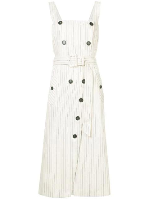 Altuzarra Audrey Button-detailed Ottoman Midi Dress In Ivory