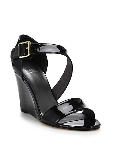 Stuart Weitzman Lineone Patent Leather Wedge Sandals In Black