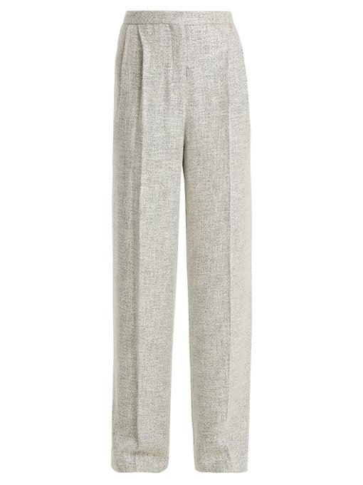 The Row Hester High-Waist Wide-Leg Fluid Tweed Pants In Stone