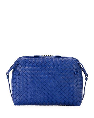 Bottega Veneta Intrecciato Small Zip Crossbody Bag In Blue  7e4bbd6775e60