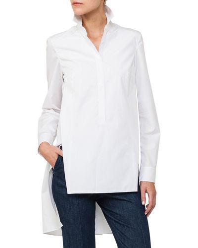 Akris Long Button-Front Cotton Poplin Tunic Blouse In White