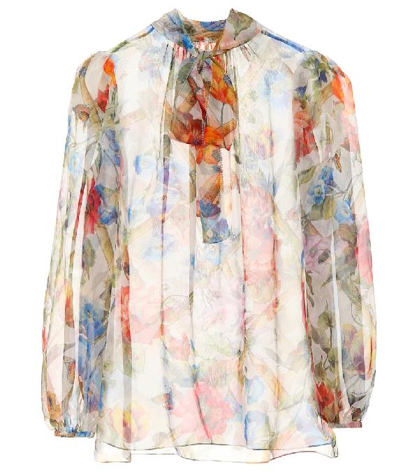 186d9330ddd47e Dolce   Gabbana Climbing Flowers Bow-Neck Long-Sleeve Silk Chiffon Blouse  In White