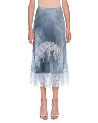 Ermanno Scervino Plisse A-line Chambray Midi Skirt In Light Blue