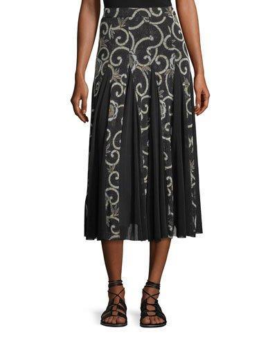 Fuzzi Scroll Floral Pleated Midi Skirt In Nero