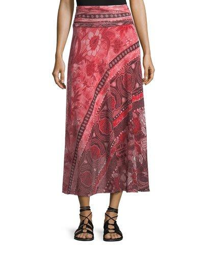 Fuzzi Stamp Patchwork Long Skirt In Lima