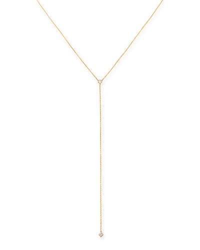 ZoË Chicco 14K Yellow Gold Princess Diamond Lariat Necklace
