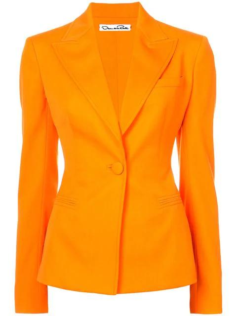 Oscar De La Renta One-button Stretch-wool Gabardine Jacket In Orange