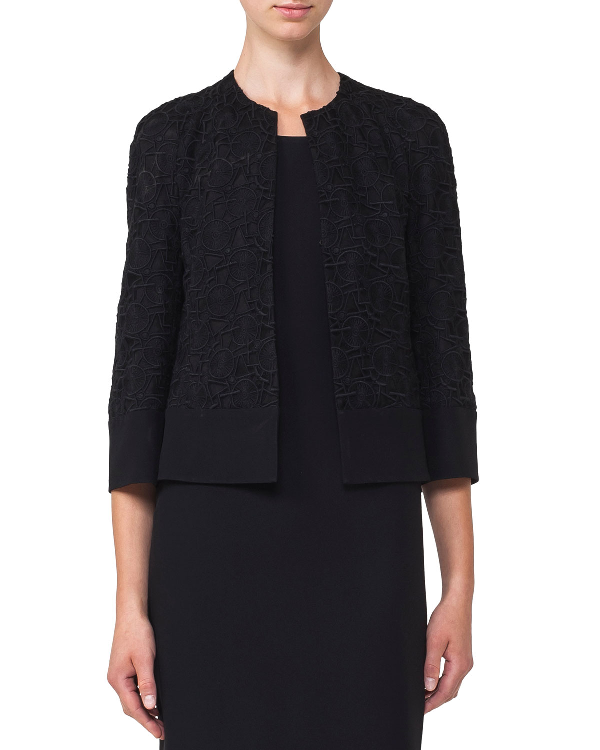 Akris Round-Neck Hook-Front Circle-Embroidery Crepe Jacket In Black