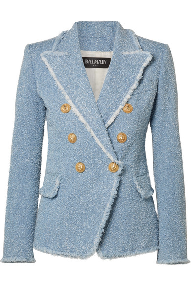 8f86adc3a87 Balmain Double-Breasted Cotton-Blend BouclÉ-Tweed Blazer In Light Blue