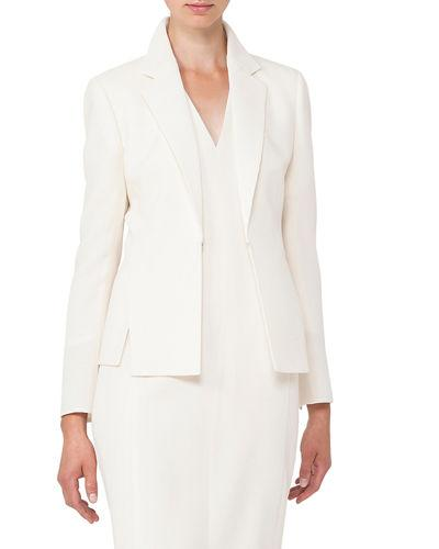 Akris Hook-Front Wool-Crepe Tailored Blazer In Off White