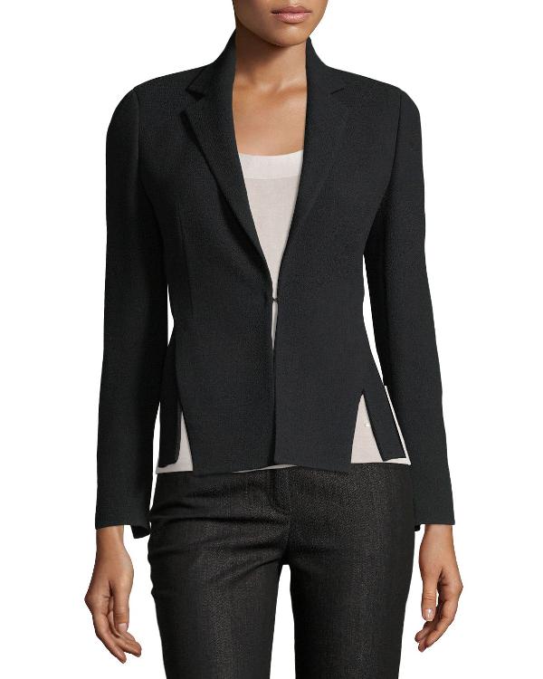 Akris Hook-Front Wool-Crepe Tailored Blazer In Black