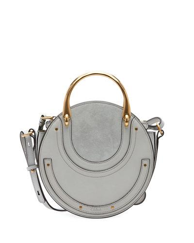 165c1836f3 ChloÉ Pixie Small Round Double-Handle Tote Bag In Light Gray