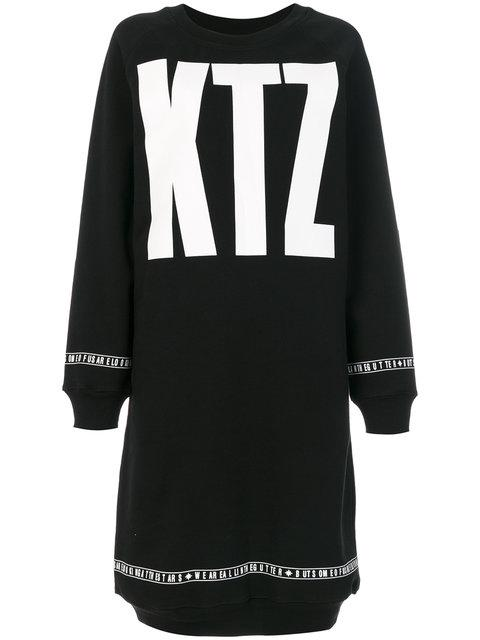 Ktz Long Printed Sweatshirt Dress - Black