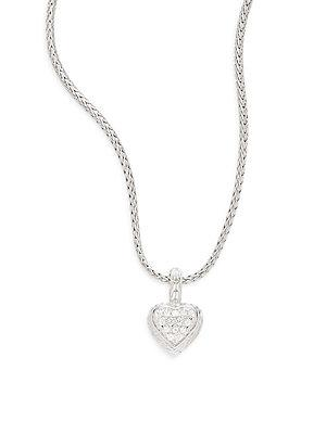 John Hardy White Sapphire & Sterling Silver Small Heart Pendant Necklace