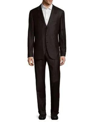 Brunello Cucinelli Checkered Wool Suit In Dark Grey