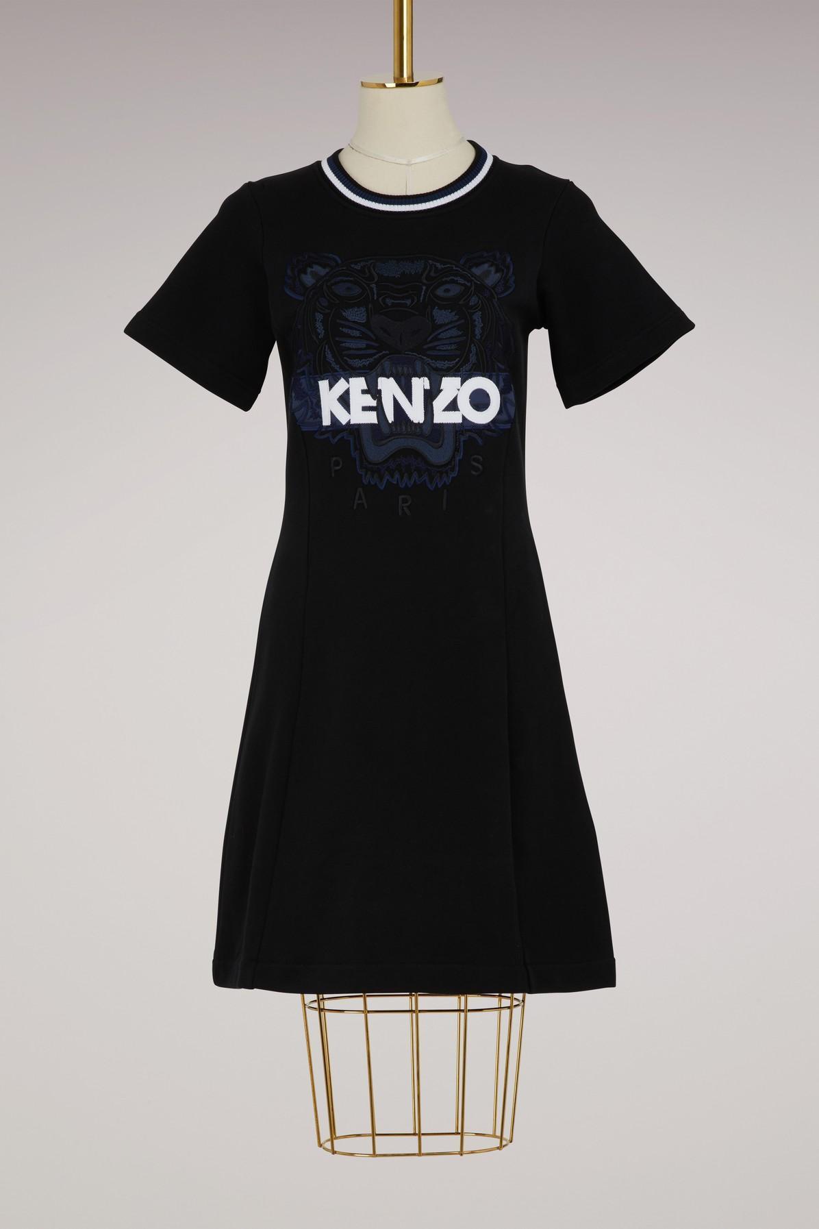 Kenzo Flared Cotton Dress In Black