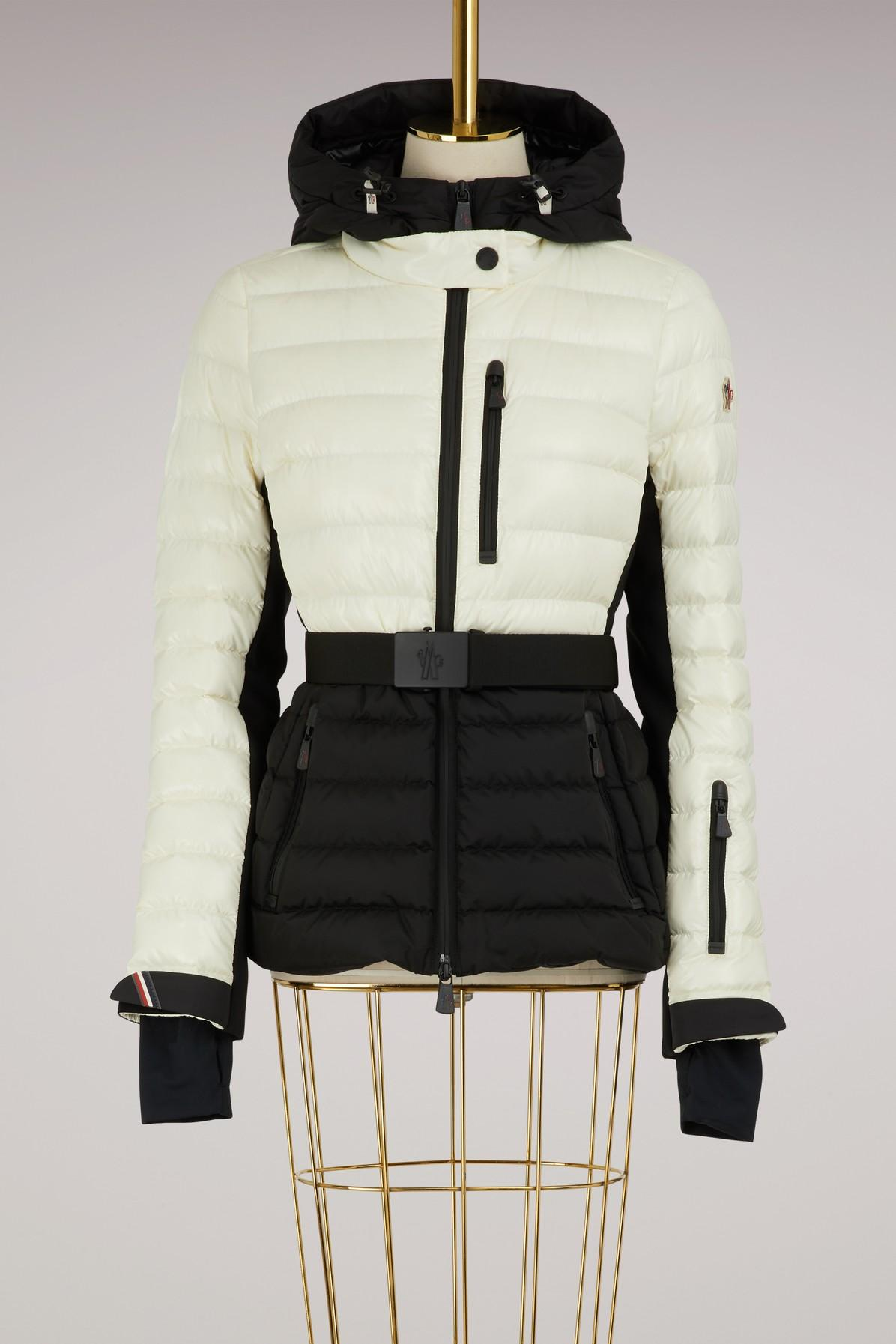 d9f5187326 Moncler Grenoble Bruche Belted Two-Tone Quilted Ski Jacket In Black White