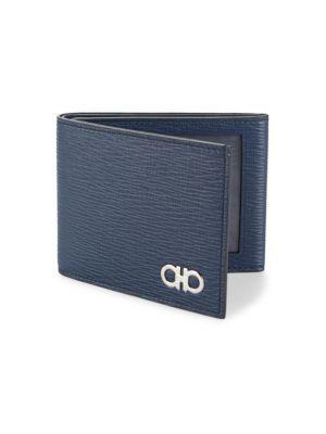 Salvatore Ferragamo Revival Tri-Foldleather Wallet In Blue