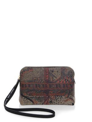 b30312436609 Burberry Large Doodle Print Coated Check Canvas Pouch In Classic ...