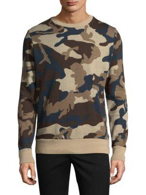 Wesc Miles Camouflage Cotton Sweatshirt In Insignia Blue
