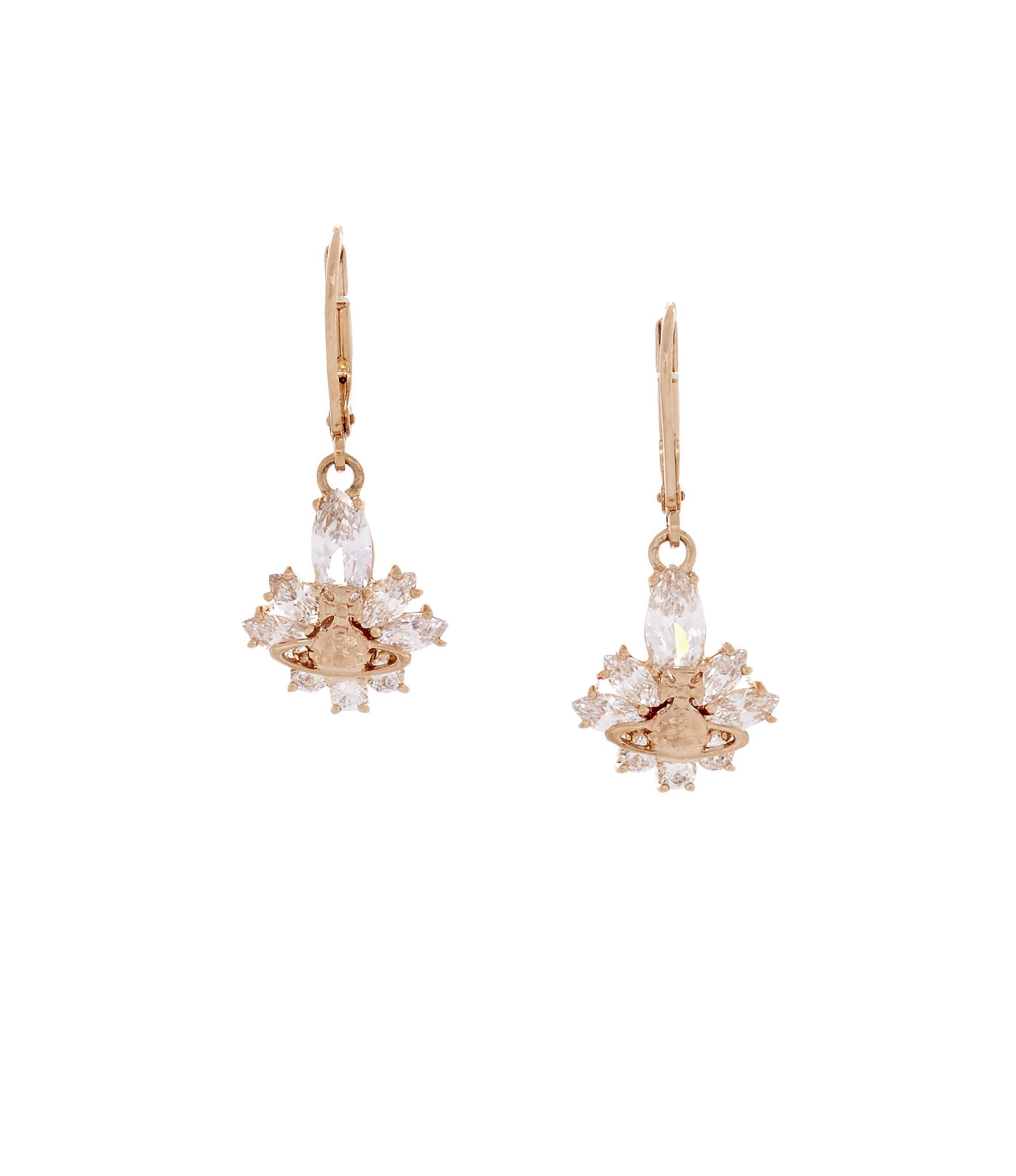 a7c6174f8c614 Vivienne Westwood Marcia Drop Earrings Pink Gold in White Cubic Zirconia /  White Enamel