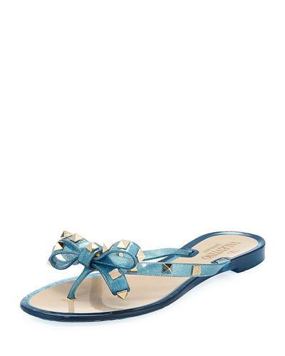 17255466379f Valentino Rockstud Pvc Flat Thong Sandals In Blue