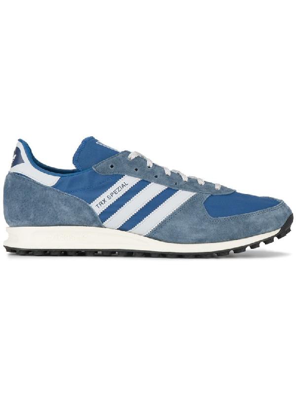 Adidas Originals Trx Spzl Suede-Trimmed Canvas Sneakers In Grey