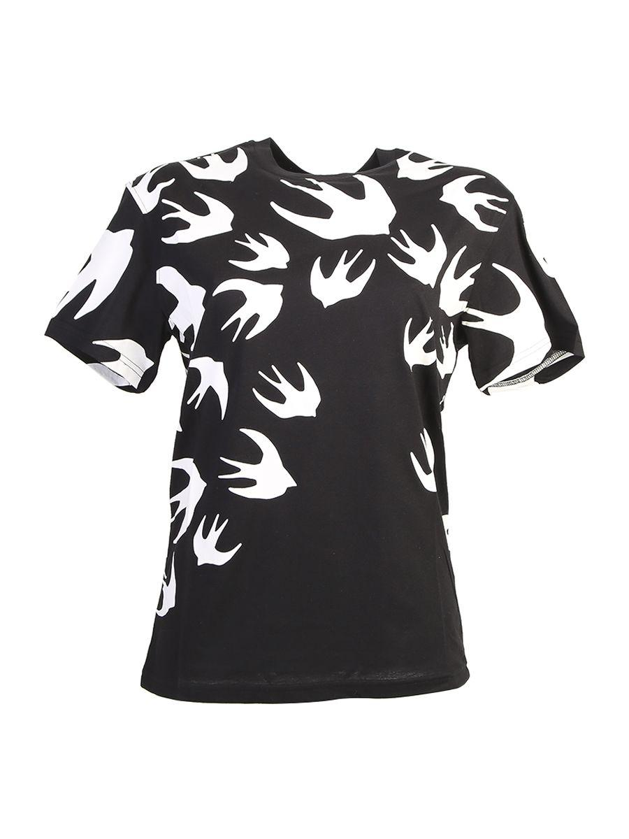 Mcq By Alexander Mcqueen Swallow Printed Cotton Jersey T-shirt In Black