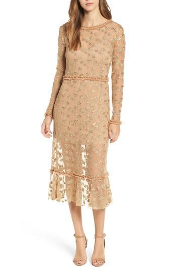 21d0b7e840 For Love & Lemons Golden Garden Tulle Midi Dress | ModeSens
