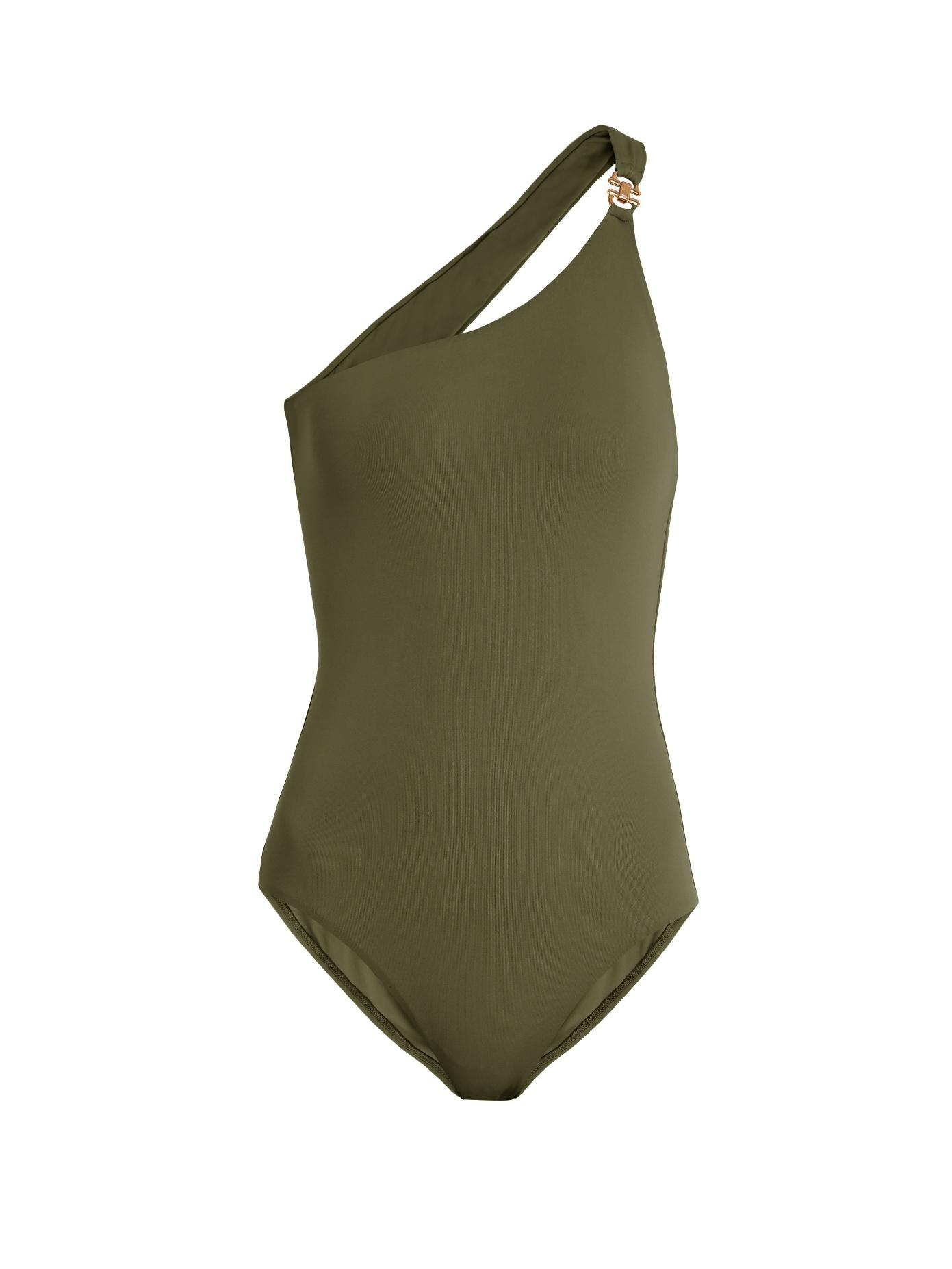 866bb87f8c Melissa Odabash Seychelles One-Shoulder Swimsuit In Khaki | ModeSens